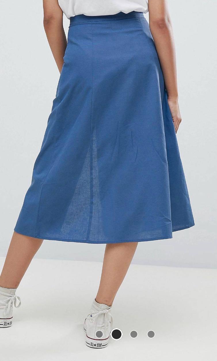 7226011573 Tall Denim Button Front Skirt | Saddha