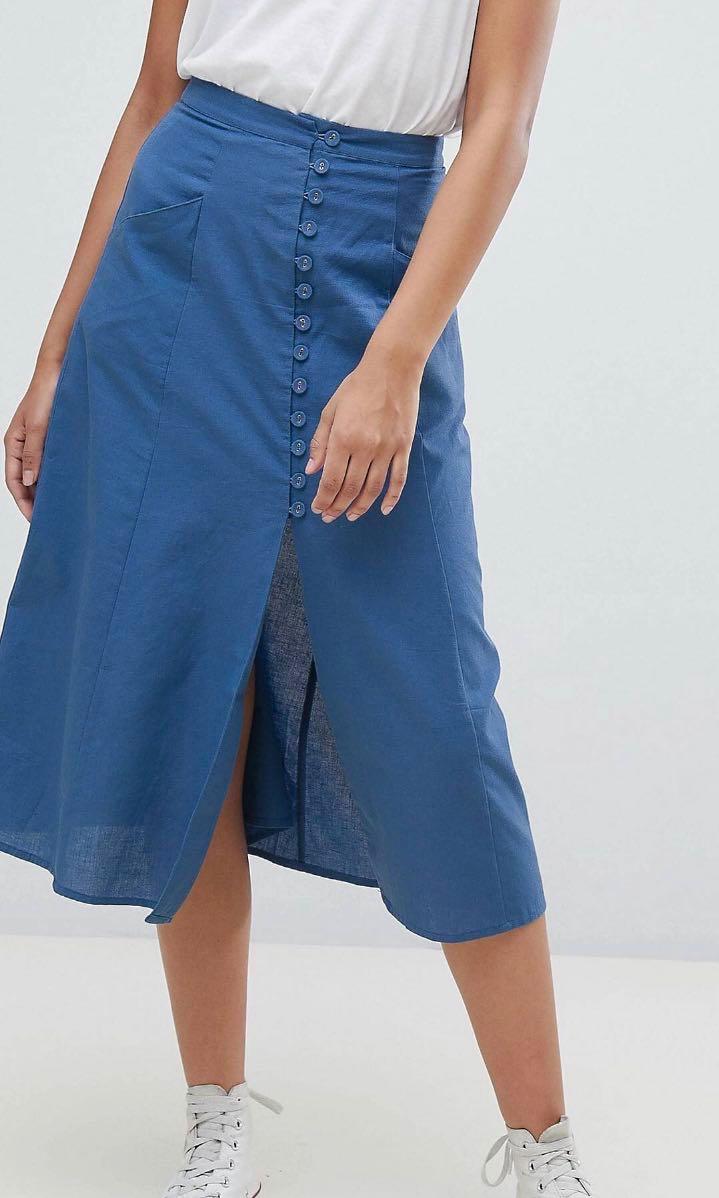 8cc738082 ASOS DESIGN tall full midi skirt with button front, Women's Fashion ...