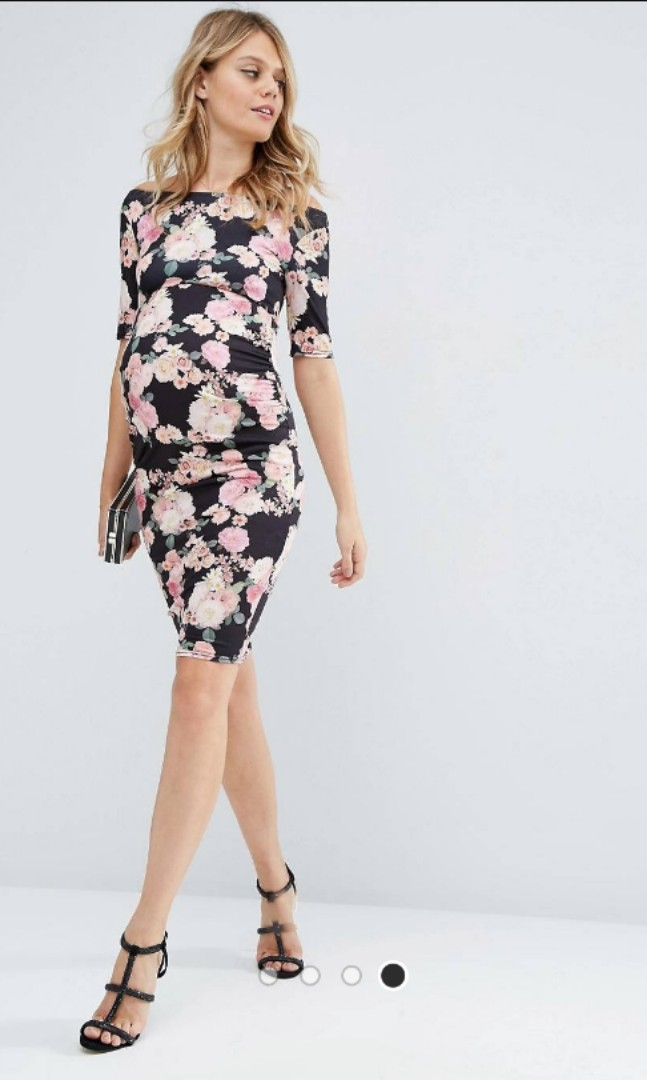 cheap sale good reputation high quality ASOS maternity bardot dress with half sleeve in pink floral ...