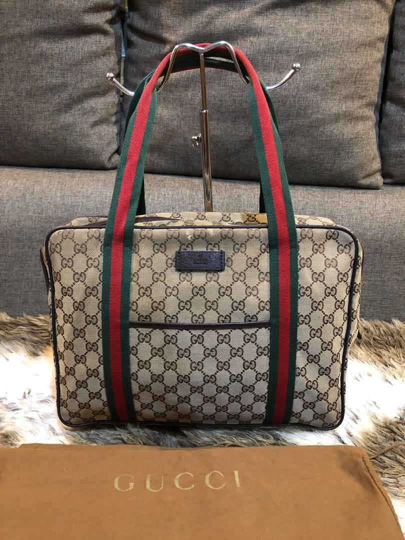 9ddf70f128f Authentic Gucci Web Canvas Shoulder Bag With Dustbag