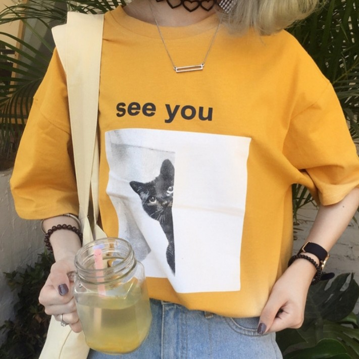 f4ce342a4a5ded basic oversized yellow tee