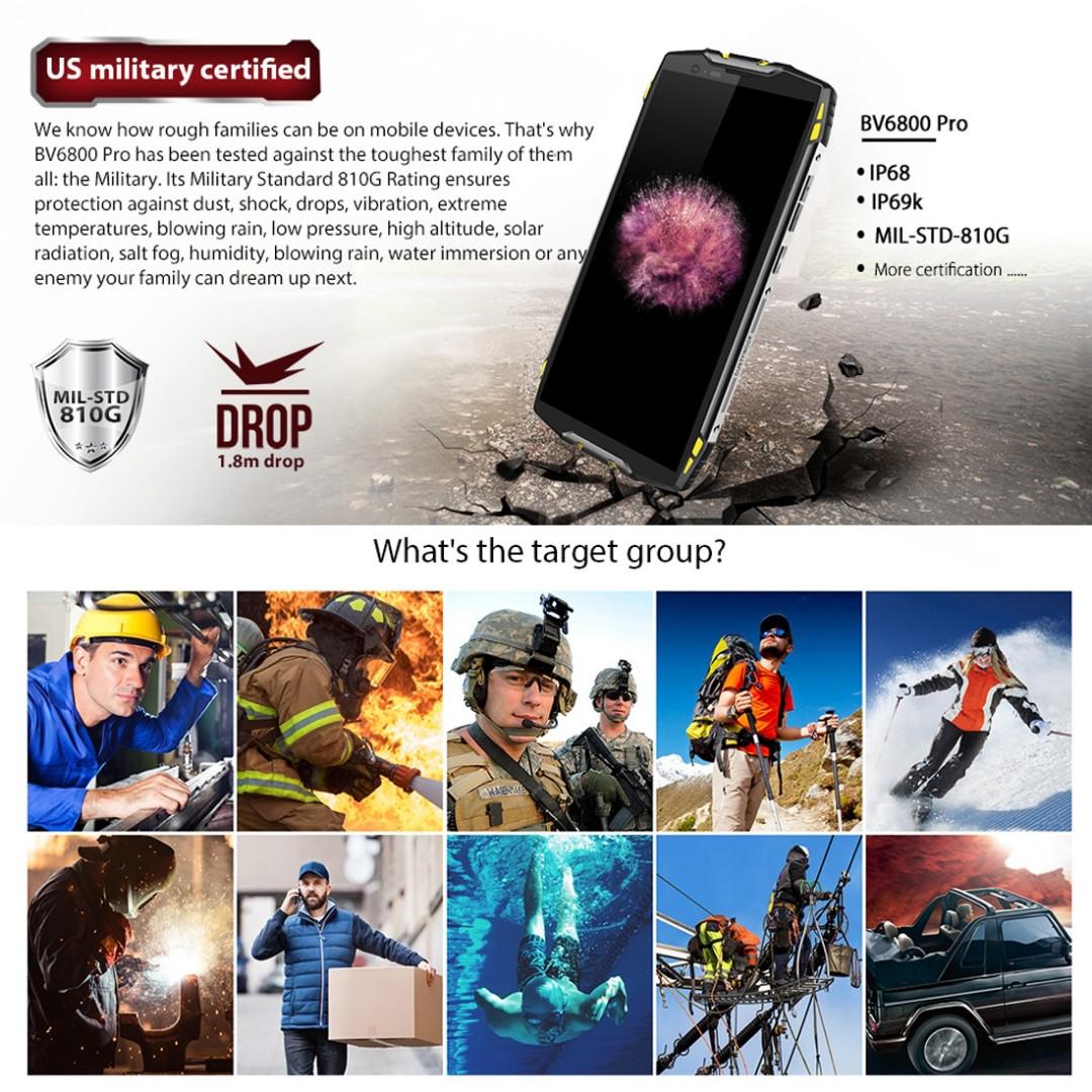 Blackview BV6800 Pro Rugged Phone, 4GB+64GB, IP68 Waterproof Dustproof  Shockproof, 6580mAh Battery, Face ID & Fingerprint Identification, 5 7 inch
