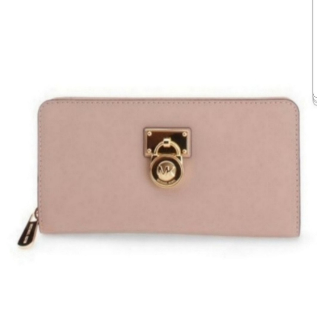 2a940243fdcacf BNWT Michael Kors Oyster Hamilton Traveler Leather Wallet (pale pink ...