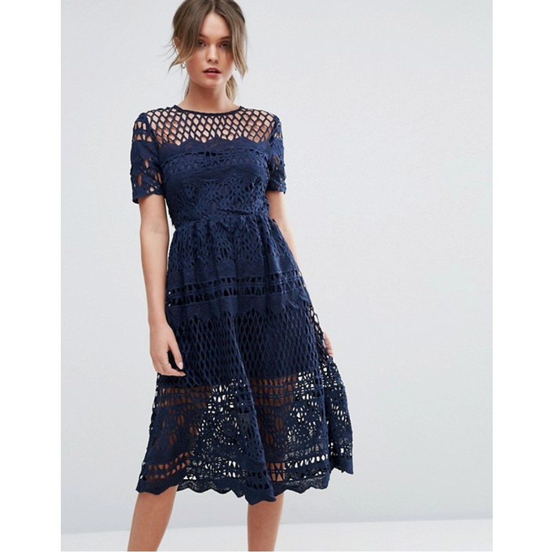 819ef2f2b861 BOOHOO Corded Lace Panelled Skater Dress (Navy Blue), Women's ...
