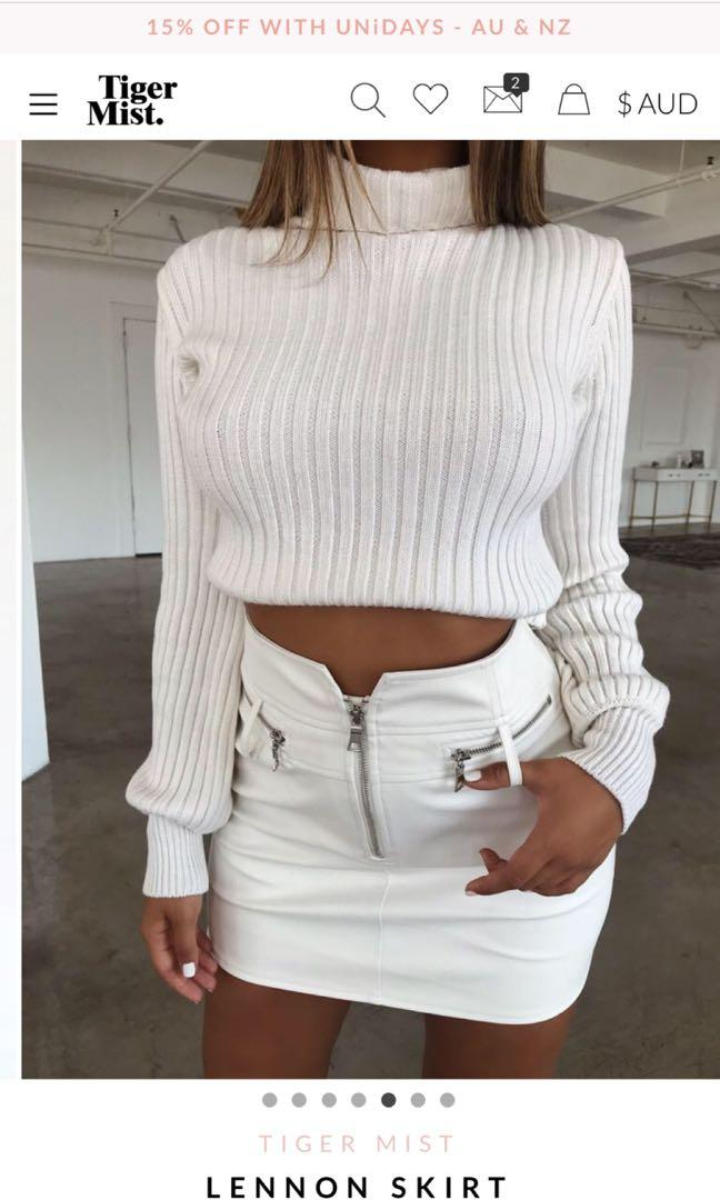 BRAND NEW tiger mist white leather skirt (skip the shipping charges)