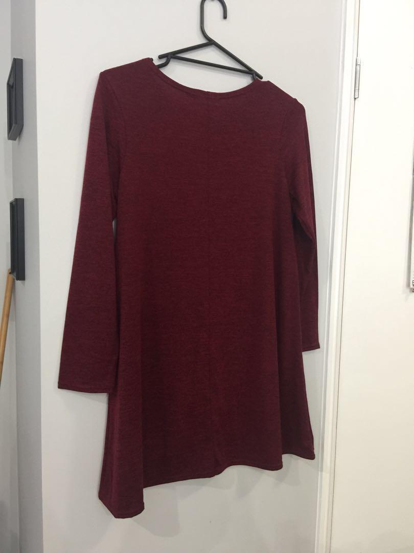 Burgundy swing dress - Boohoo size 12 - BRAND NEW NEVER WORN