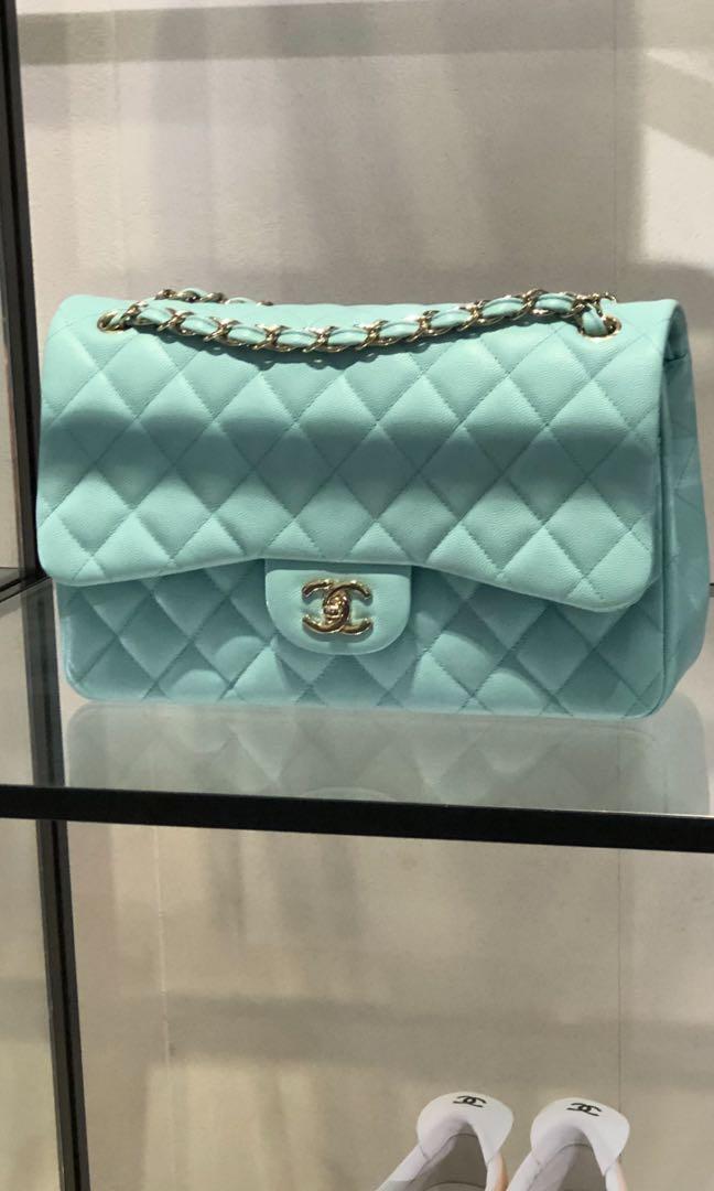 aa18e2bdc858 Chanel Jumbo Caviar in Tiffany Blue