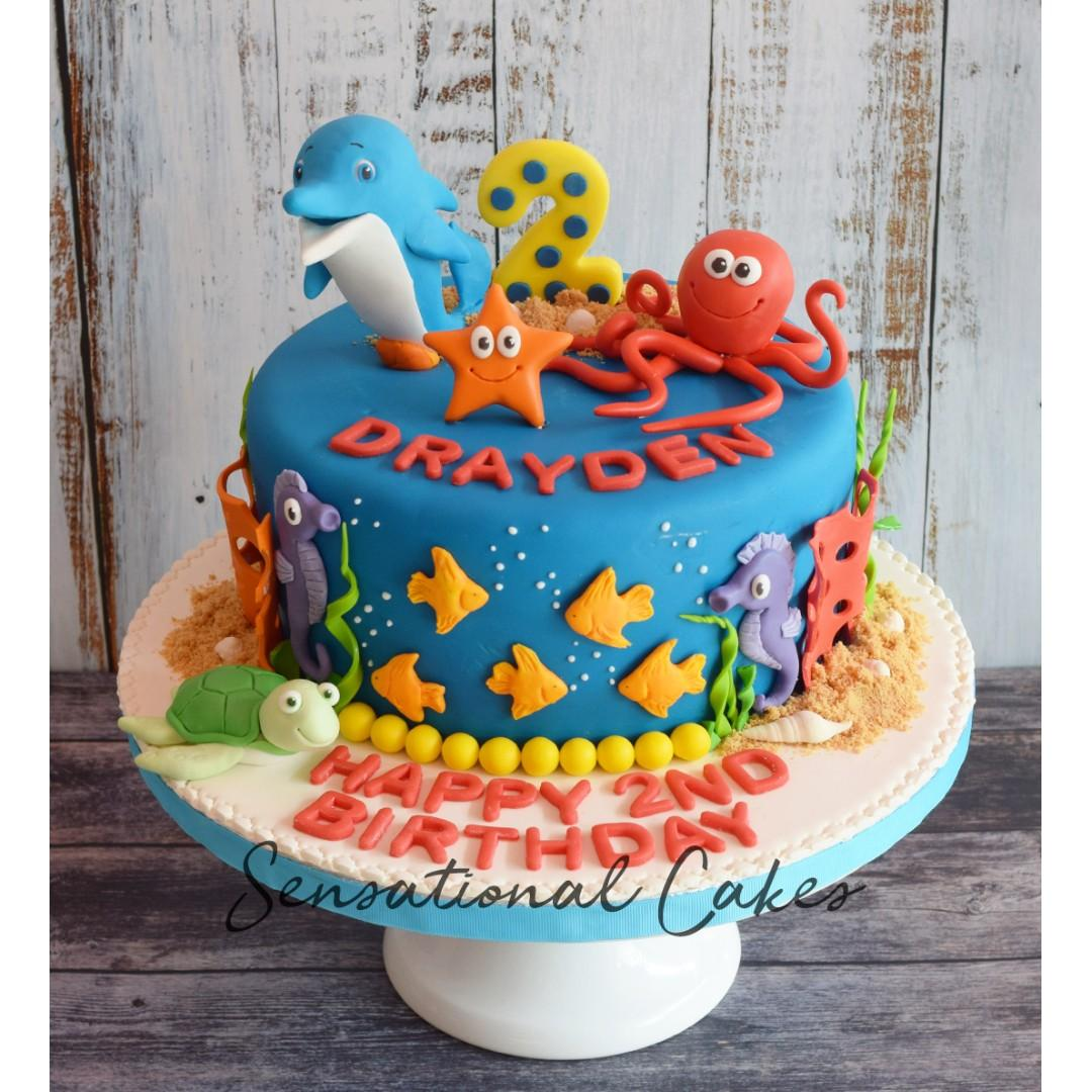 Excellent Cute Sea Animals Underwater Theme Kids Birthday Cake Funny Birthday Cards Online Benoljebrpdamsfinfo