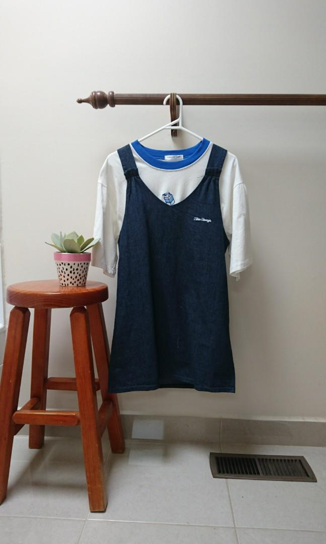 CUTEST Korean t shirt and pinafore denim dress size 6-10