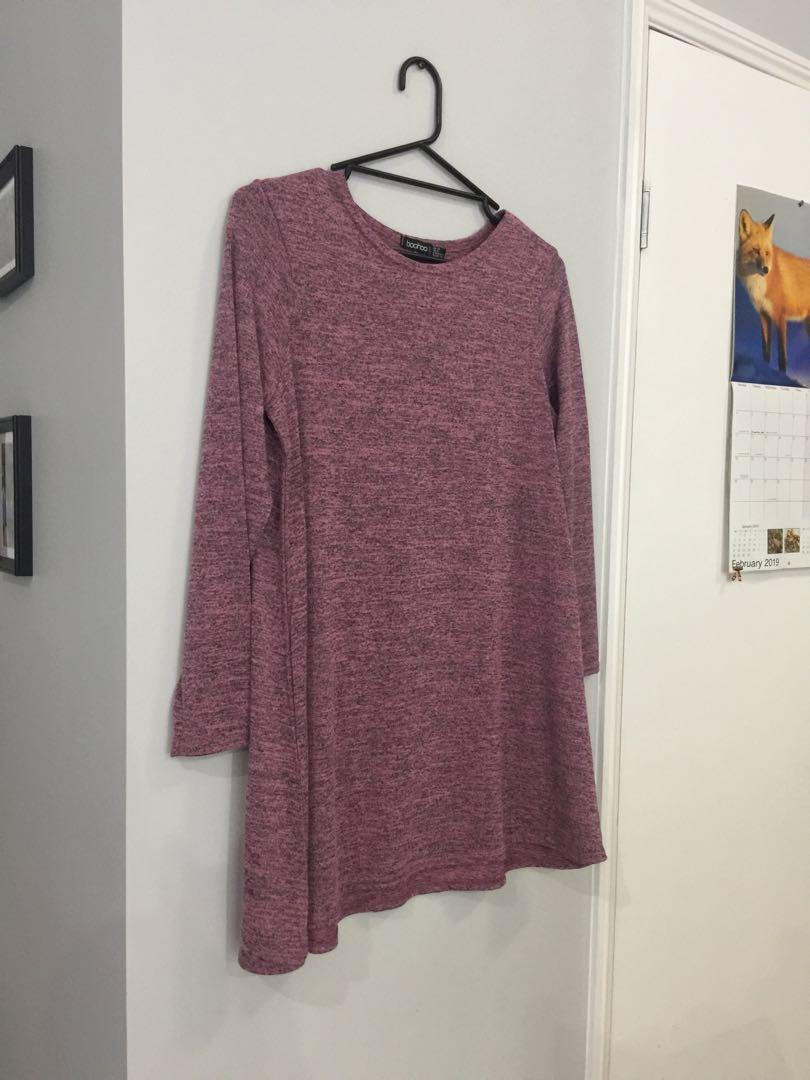 Dusty pink swing dress - Boohoo - size L BRAND NEW NEVER WORN