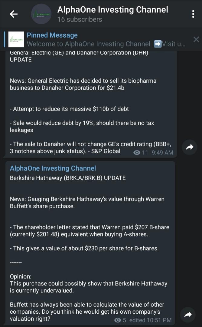 Stock Updates Telegram Channel