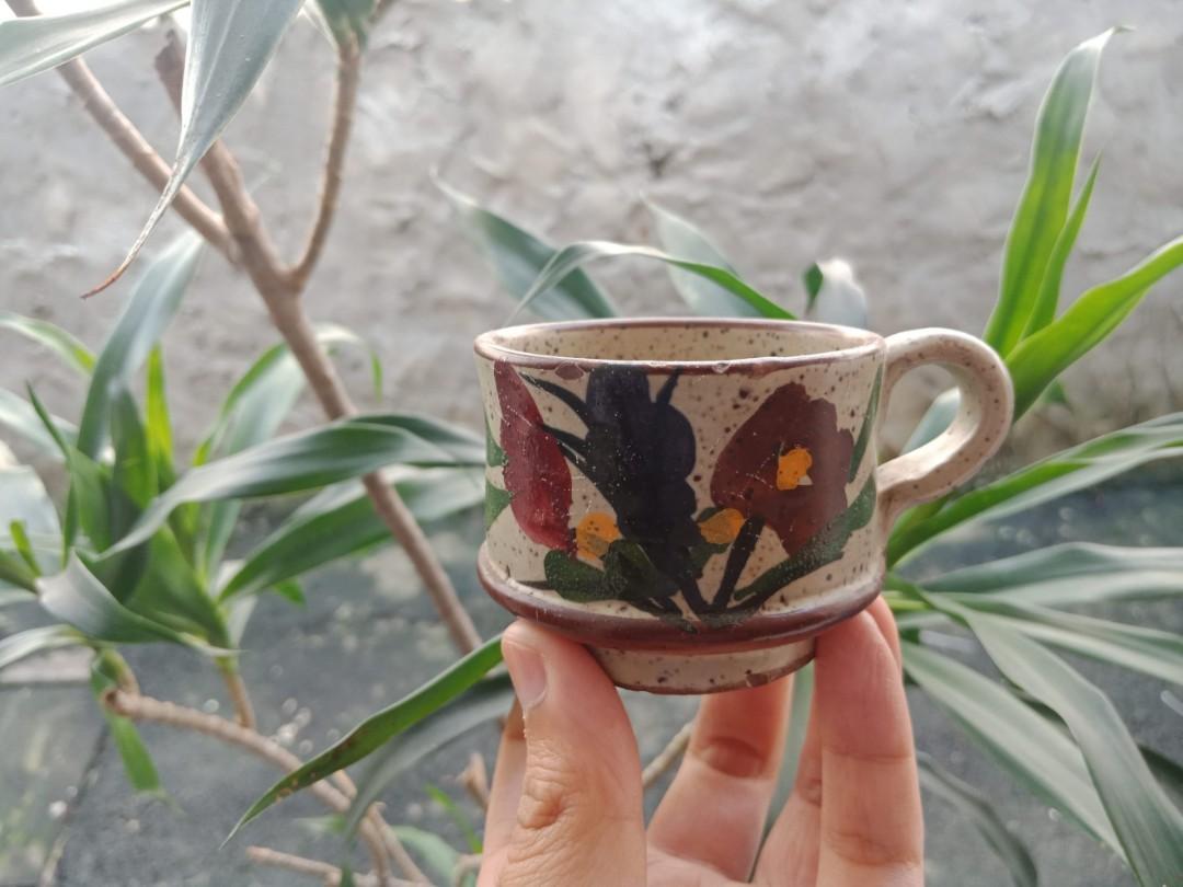 Cangkir gelas antik mini kecil keramik