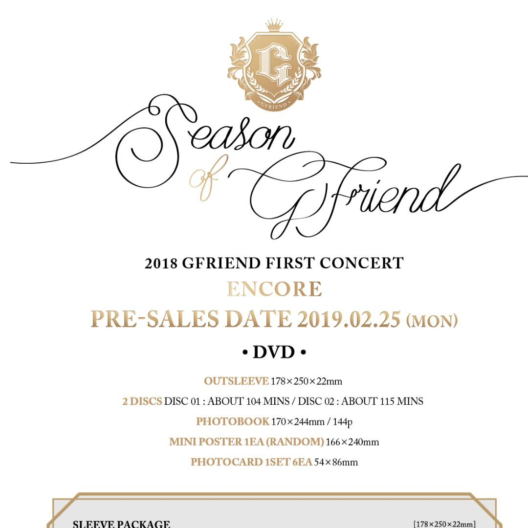 GFRIEND - 2018 GFRIEND FIRST CONCERT [Season of GFRIEND] ENCORE DVD