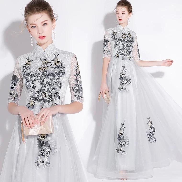 99b2eb96dd1 Grey qipao cheongsam dress   evening gown