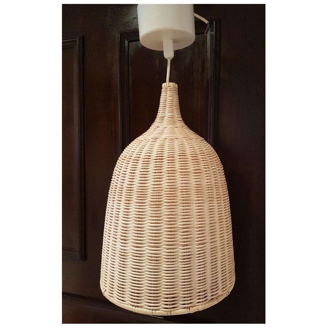 Ikea Leran Pendant Hanging Ceiling Lamp Rattan Furniture Home Decor Lighting Supplies On Carousell