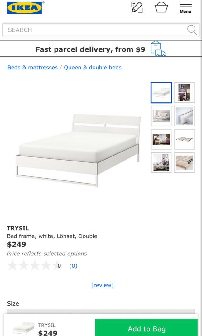 IKEA Trysil Double Bed Frame with Mattress