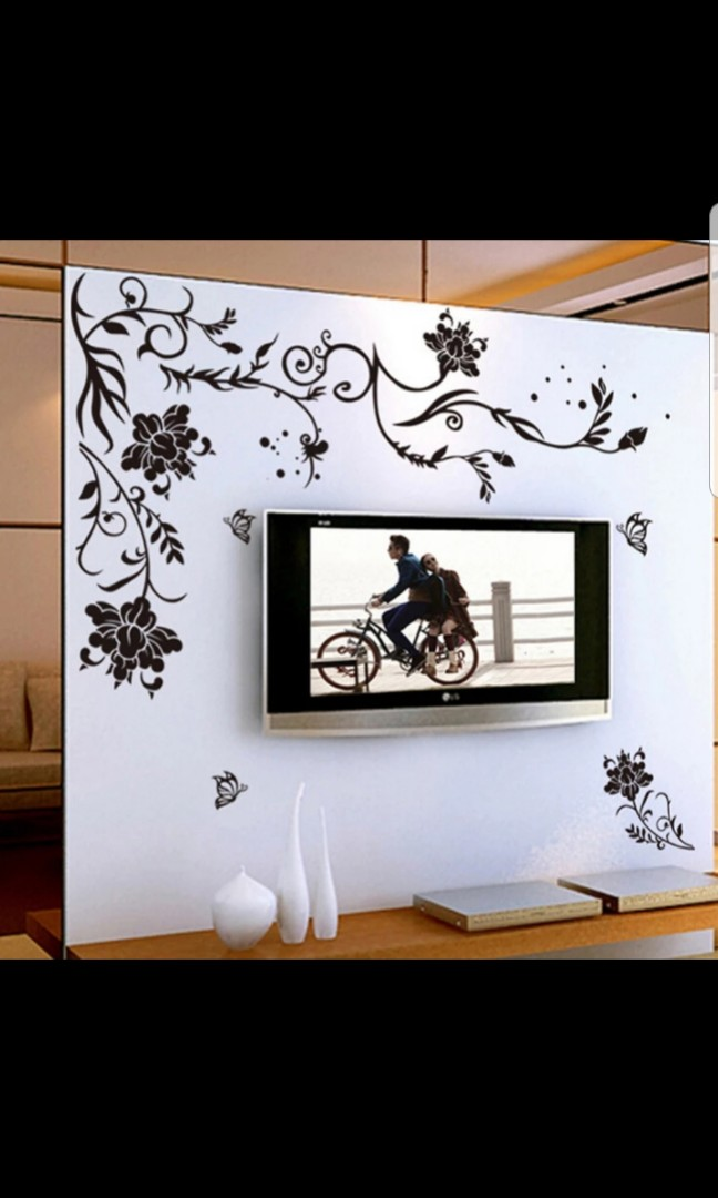 ✓instock simple black butterfly flower vine wall sticker bedroom