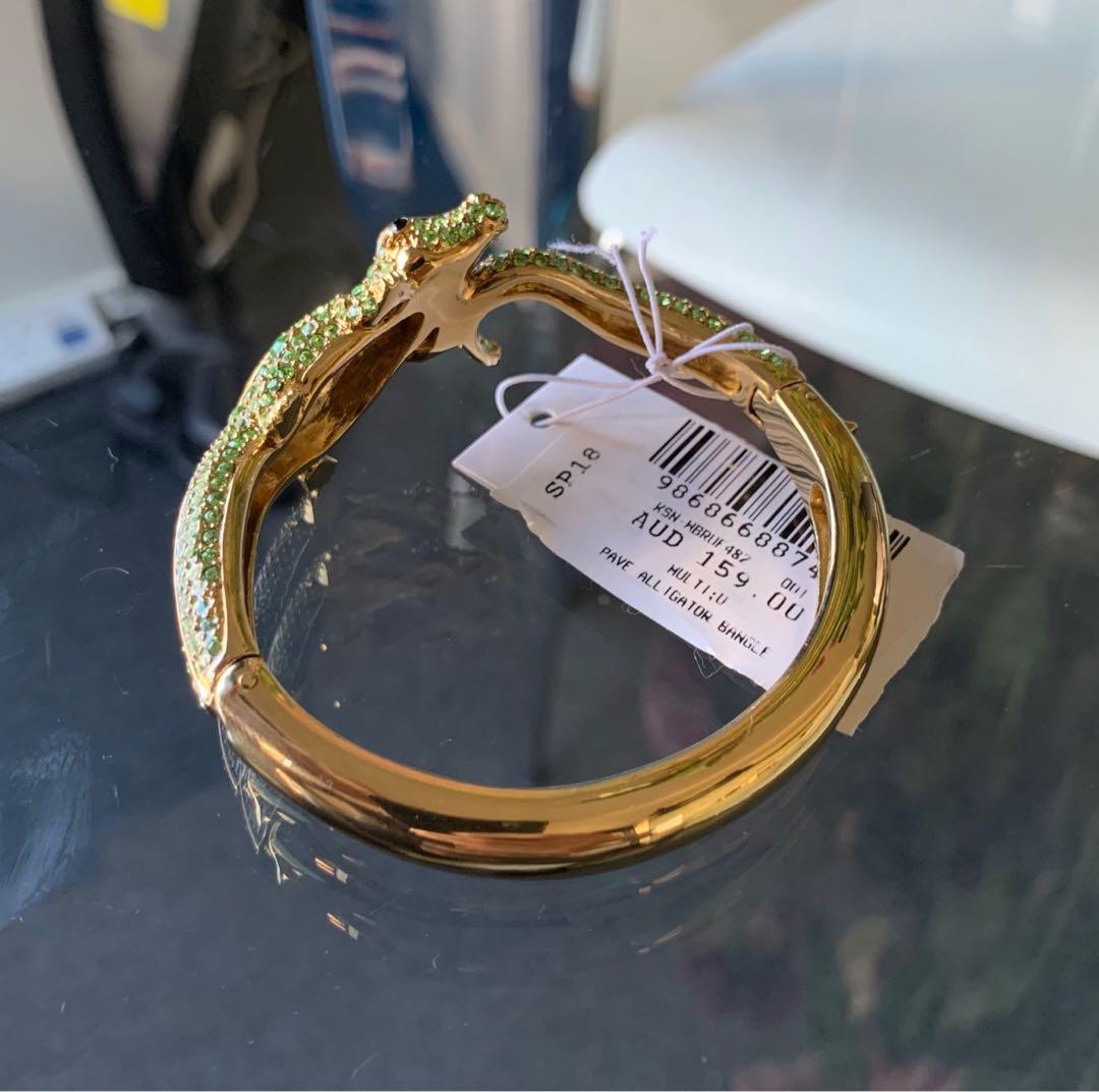 Kate Spade New York Green Pavé Alligator Hinged Bangle Bracelet