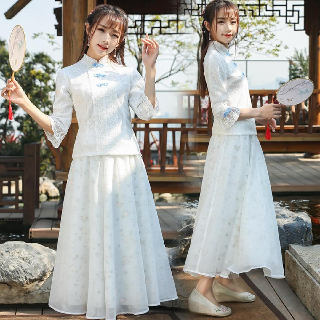 現貨L*1春秋裝新款 改良日常旗袍立領上衣蕾絲提花盤扣襯衫民國風上衣