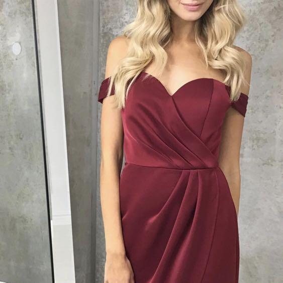 Love Honor burgundy off shoulder dress