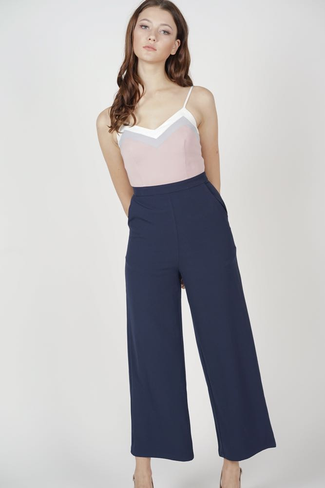 aff3c2a1469 MDS Delxie Contrast Jumpsuit in Navy