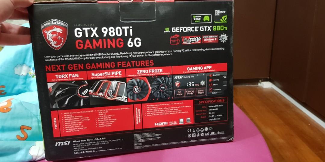MSI Nvidia GTX 980 Ti 6GB graphics card (new in box)
