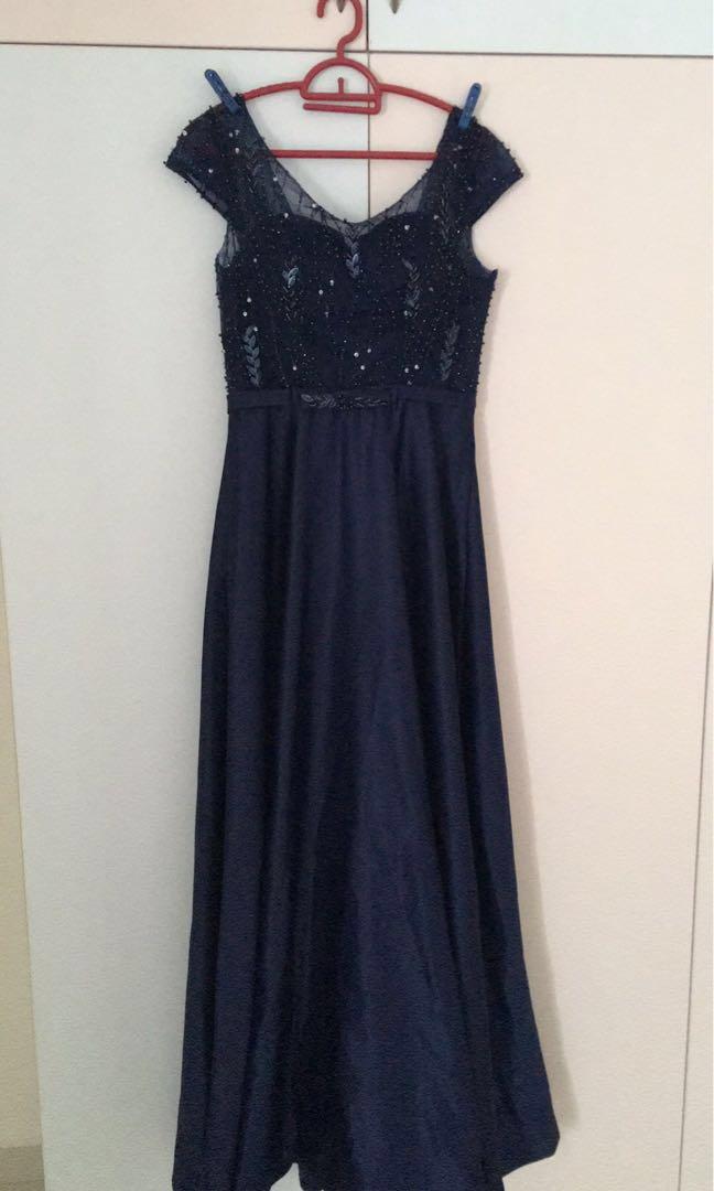 Navy Blue Evening Gown Wedding Dress