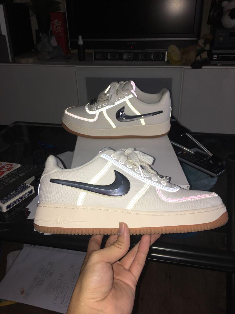 buy popular 02862 3e644 Nike Air Force 1 Travis Scott Sail, Men's Fashion, Footwear ...