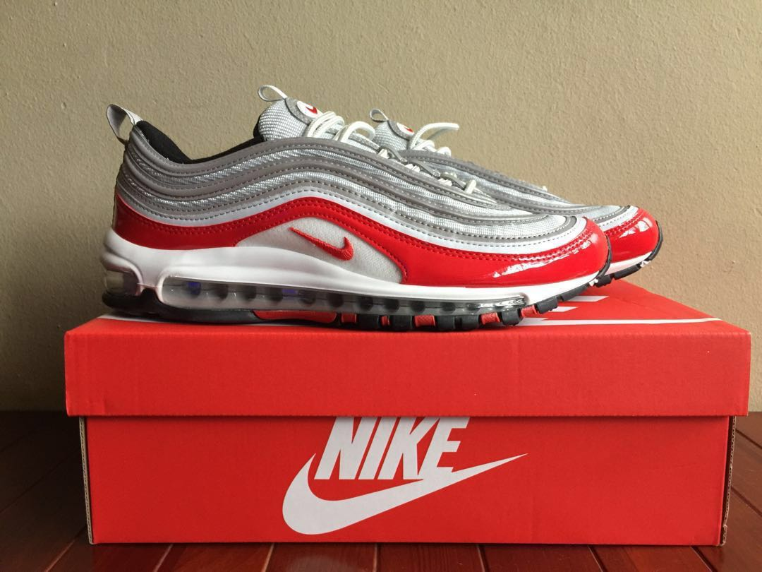 4aeae2b82b Nike Air Max 97 Platinum Silver/University Red, Men's Fashion ...