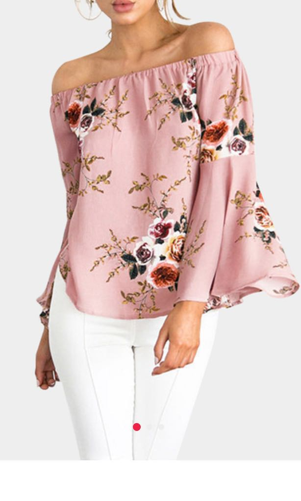 cf427d8984f9 Pink floral ruffle sleeve off shoulder top