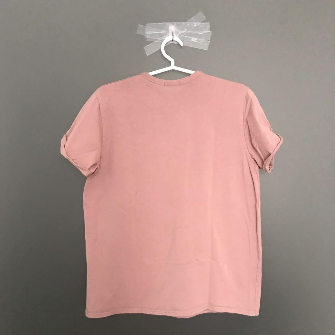 PLT Plain Basic Tshirt with Rolled-up Sleeves in Pink