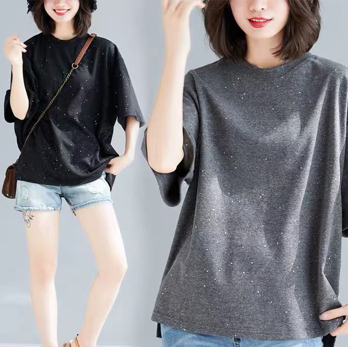 e81a7d9030f8 Plus size solid color sequined short-sleeved T-shirt female retro ...