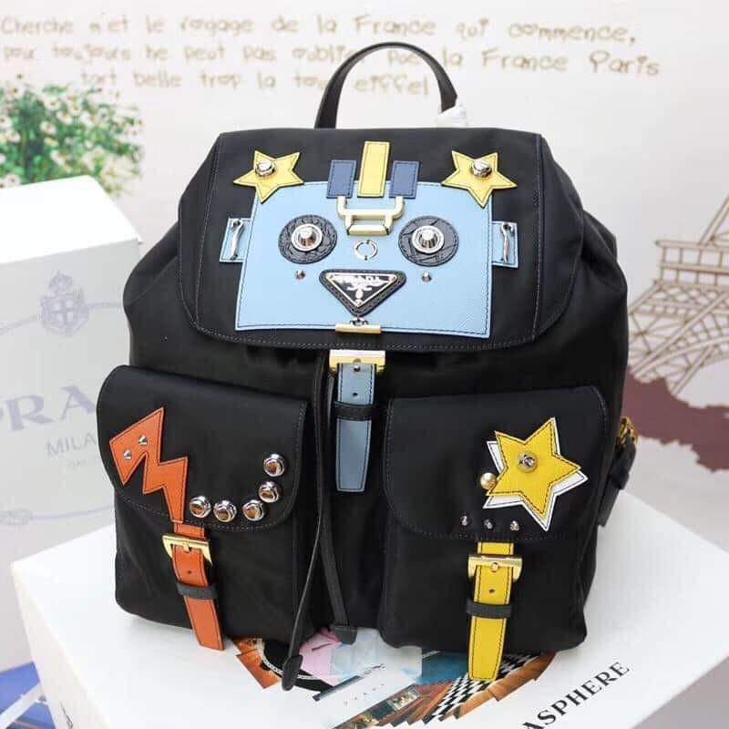09d30e9d7551 ️PRADA BLACK FABRIC BACKPACK with ROBOT MOTIF