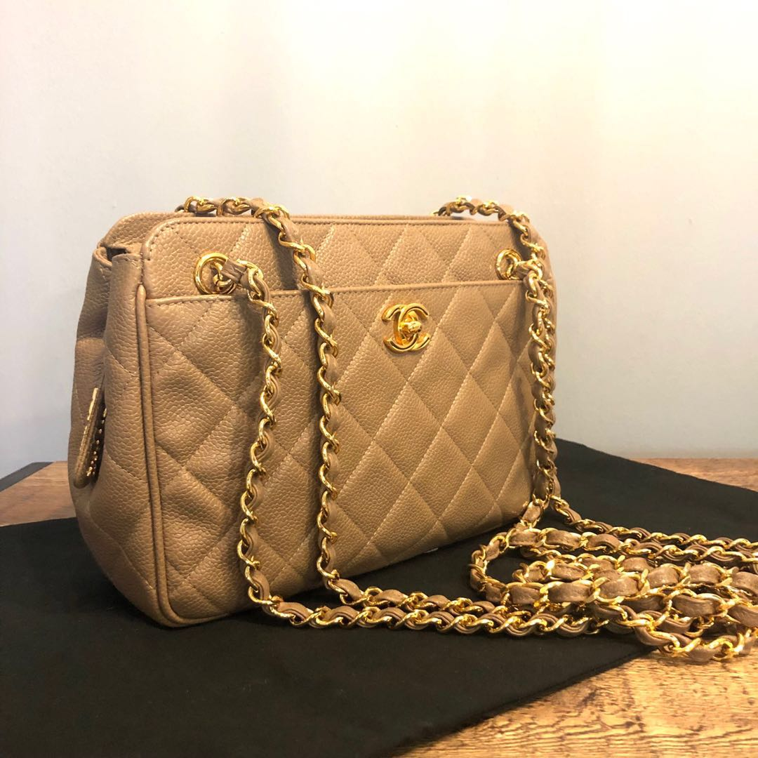 45ade1545091 RESERVED Authentic Chanel Nude Caviar Camera Bag w 24k Gold Hardware ...