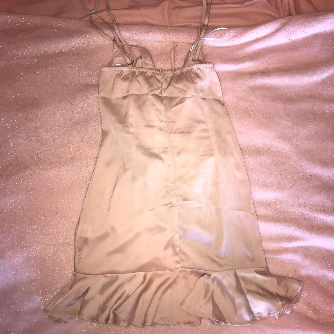 Ruffle detail strappy mini dress in BEIGE - perfect condition