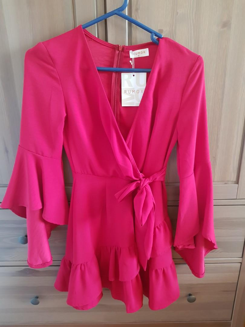 Rumor BELL SLEEVE RED Wrap Formal Races COCKTAIL Party Dress Size 6-8 XS S