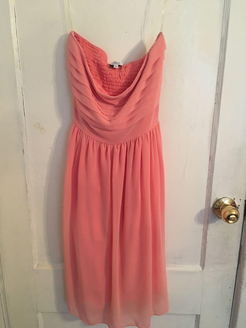 Strapless flowy peach dress