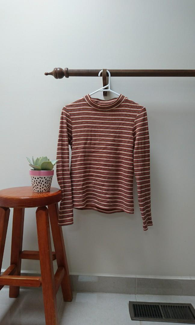 subtitled long sleeve mock neck ribbed striped top size 6 xs