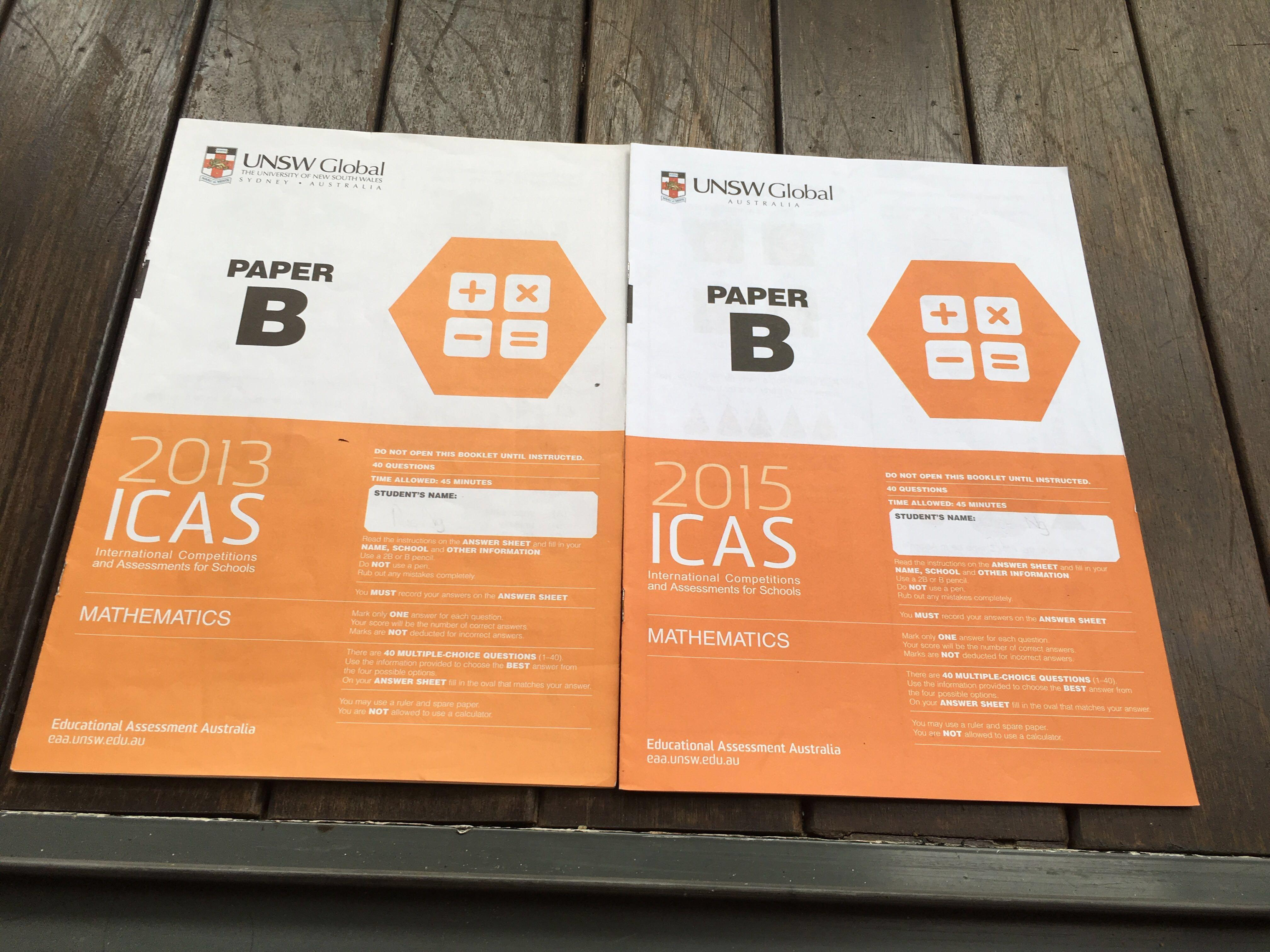 UNSW ICAS past year papers Maths English Science, Books