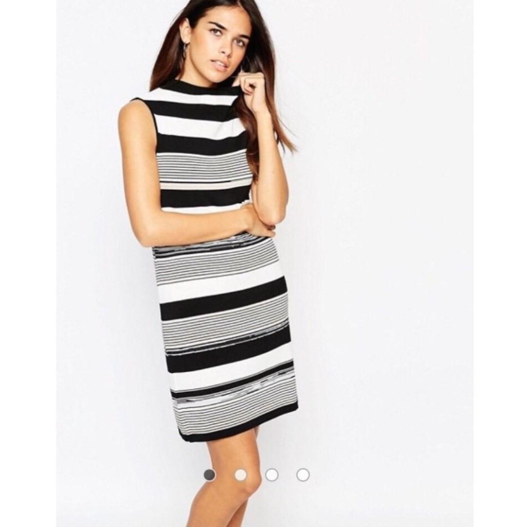$10 SALE WAREHOUSE High Neck Stripe Knit Dress - Sz 6-8