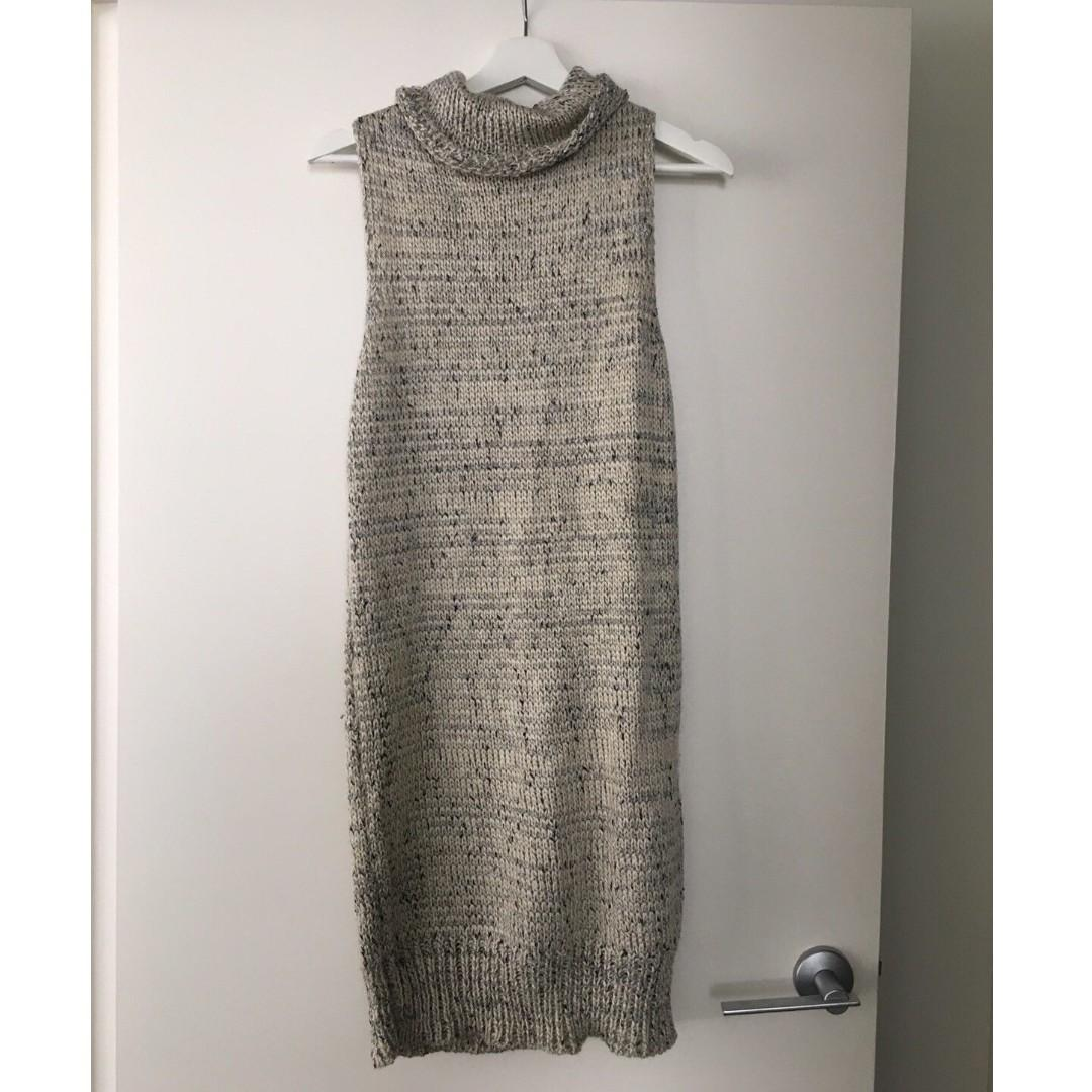 White Closet Cowl Neck Knit Midi Dress for Winter - Sz 10