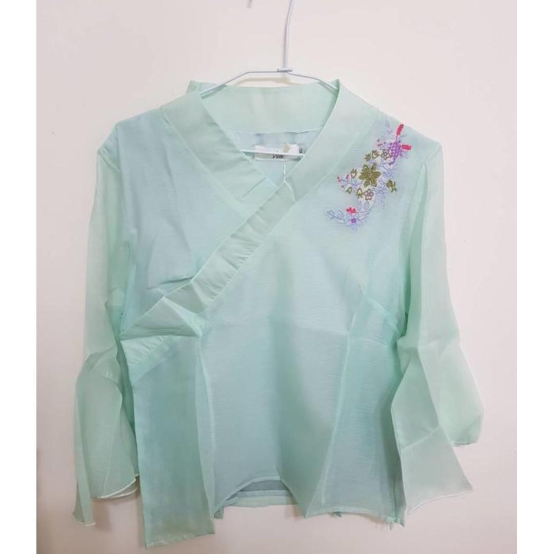 全新xl現貨特價淺綠雪紡長袖繡花交領古風氣質上衣
