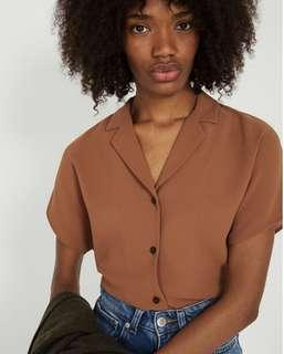 Frank and Oak Camp Collar Blouse in Rawhide
