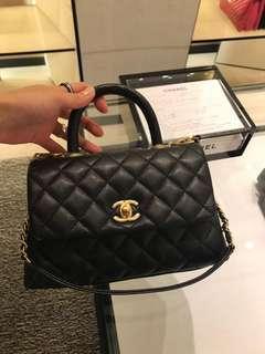香港專門店取貨 Chanel Coco Handle 24cm mini size 黑色 蜥蜴皮手把 lizard handle