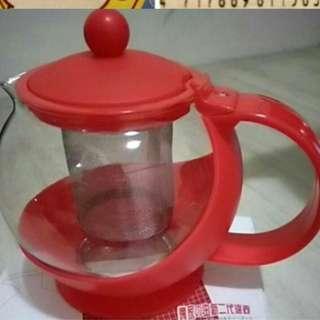 紅色玻璃濾茶壺