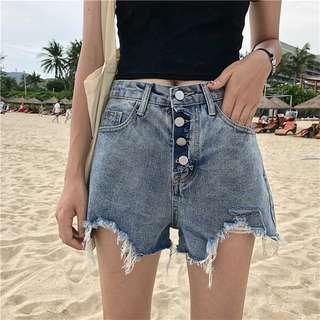 ulzzang factorie black button down ripped denim shorts