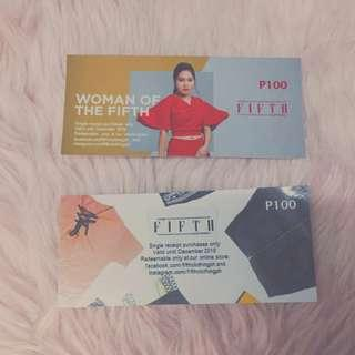 P100 Worth of GC at The Fifth Clothing