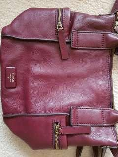 Fossil emerson satchel maroon preloved vvgc