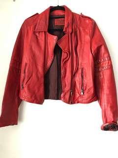 Zara red genuine leather jacket size small