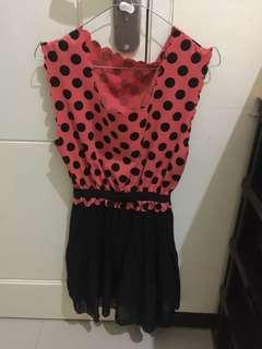 Dress peach polka dot